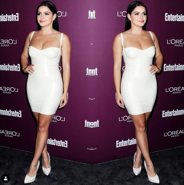 ariel winter in a white strapless dress after her breast reduction